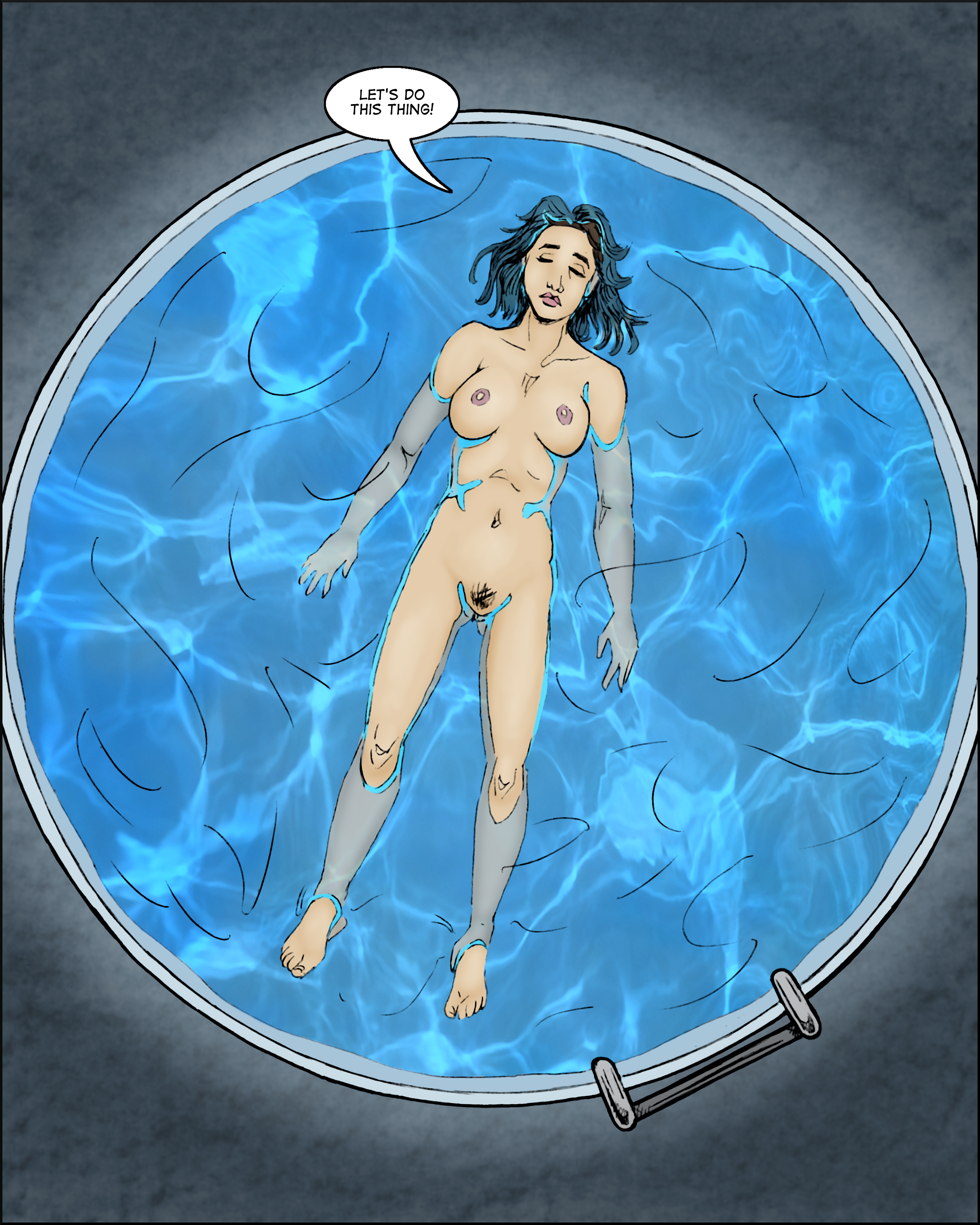 """Abigail floating blissfully in the tank.  """"Let's do this thing1"""""""